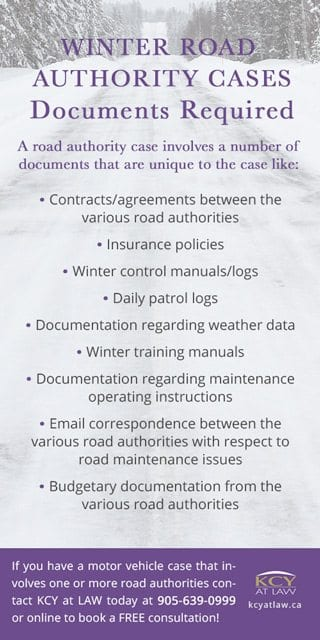 Winter Road Authority Cases Ontario - Documents Required - KCY at LAW