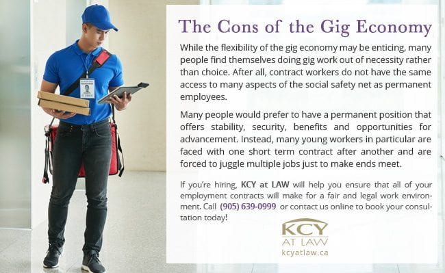 Cons of the Gig Economy - Freelancing in Canada - KCY at LAW
